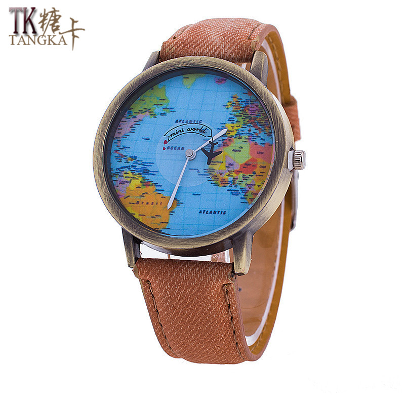 Fashion Retro Mens And Womens Watches Creative Map Leather Clock Casual Clothing Watches For Teenagers Relogio