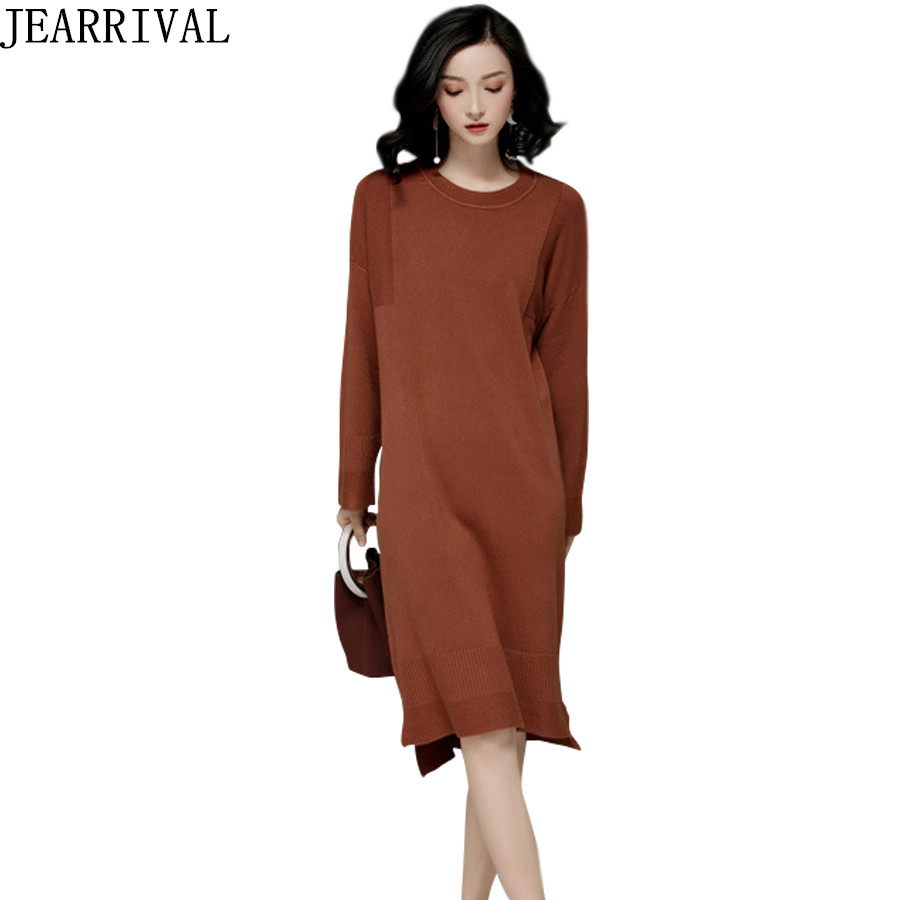High Quality Autumn Winter Dress Women 2017 New Fashion Long Sleeve O-Neck Casual Plus Size Knitted Sweater Dresses Vestidos 2017 new women xxl 3xl 4xl big size autumn winter casual dress polka dot print fashion long sleeve knitted sweater tops dresses