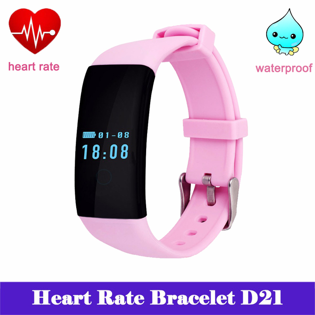 Heart Rate Waterproof Smart Wristband Bracelet DFit D21 Fitness Tracker Swim Band Sport Smartband Pulsometer for Android iOS