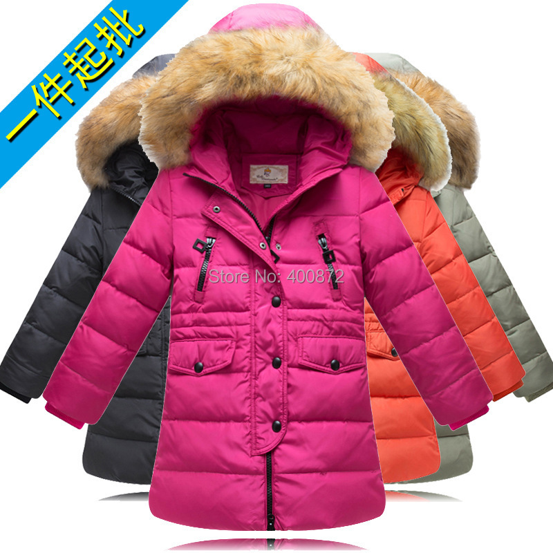 Girl 100% down winter jackets coat long model extra thick warm ...