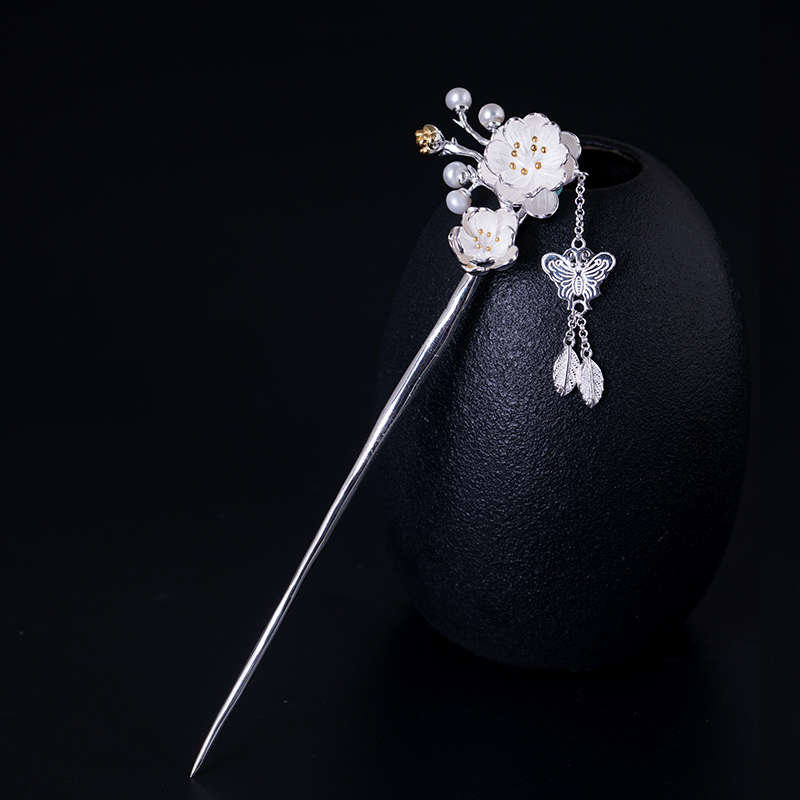 925 Sterling Silver Pearl Hair Stick Jewelry Accessories For Women Plum Blossom Flower Bobby Pin Vintage Fashion Tassel Hairpin natural dry flower nail decoration 60pcs mix 12 color daisy babysbreath plum blossom flower manicure accessories