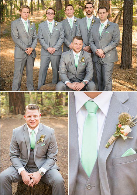 Costume Mens Groom Wedding Suit 2015 Light Gray Suit M 0696 Gray ...