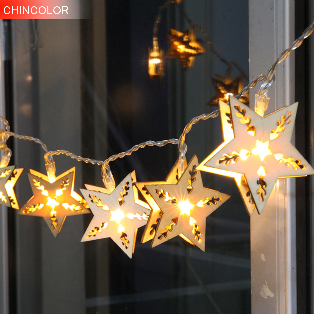 Wooden Holiday lights five-pointed star Led Light string 20-38Leds 5-10m EU Plug Garland Birthday Party christmas fairy decor DA