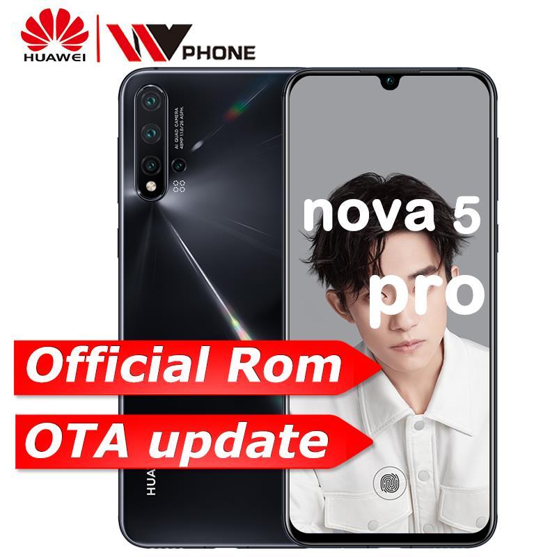 Huawei Nova 5 Pro téléphone portable 48MP Quad caméra NFC Kirin 980 6.39 pouces 40 W SuperCharge 3500 mAh In-screen empreinte digitale Smartphone