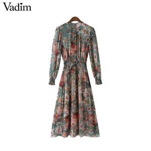 Image 4 - Vadim vrouwen bloemen chiffon jurk twee delige set lange mouwen elastische taille mid calf o hals casual brand jurken vestidos QZ3200