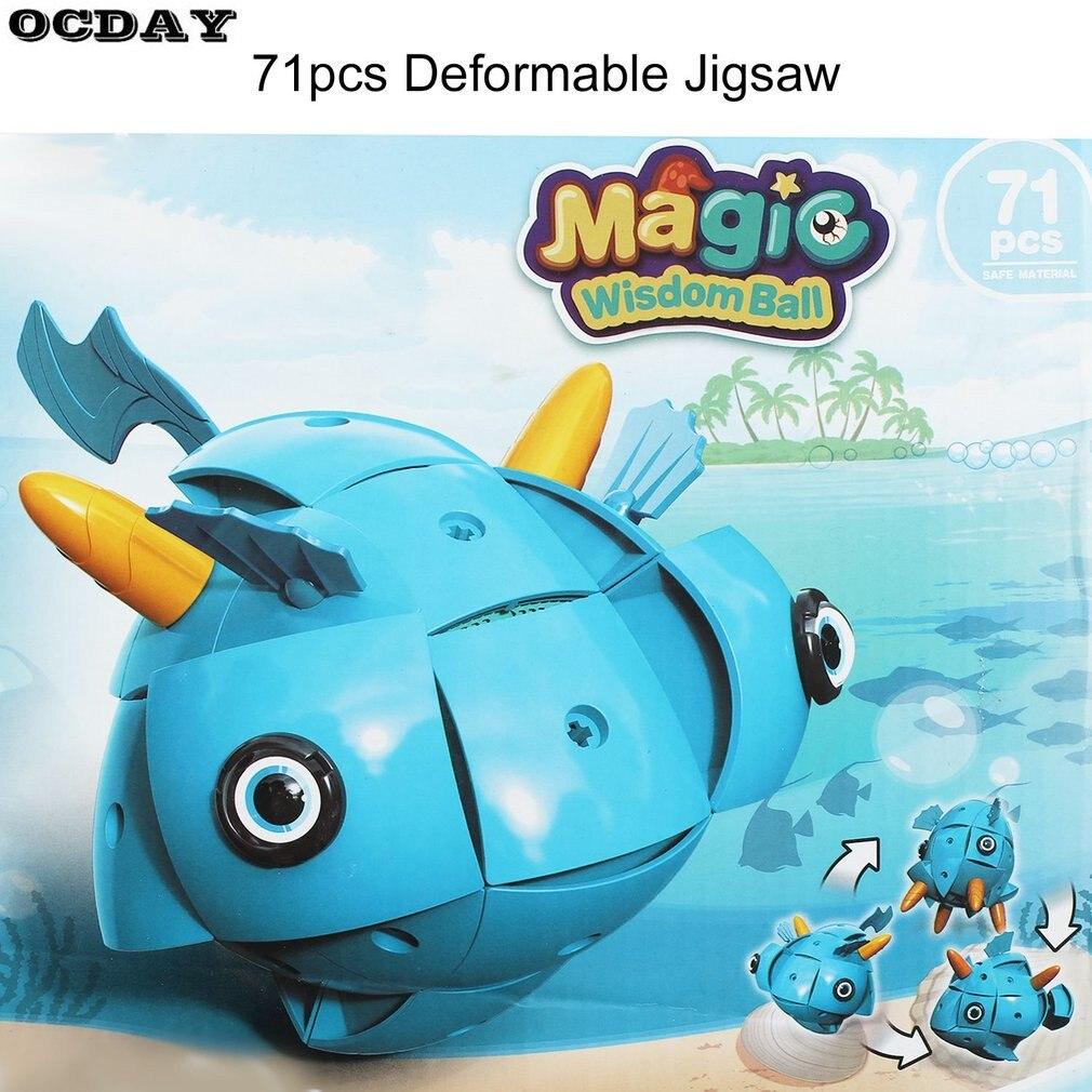 Новый 71 шт. 3D рисунок деформация Пингвин рыбы модель трансформации DIY магнитная Магия интеллект Бал головоломки игрушки подарки для детей
