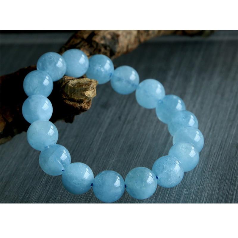 Natural Genuine Blue Beryl Aquamarine Stretch Bracelets Round Beads 11mm 02782