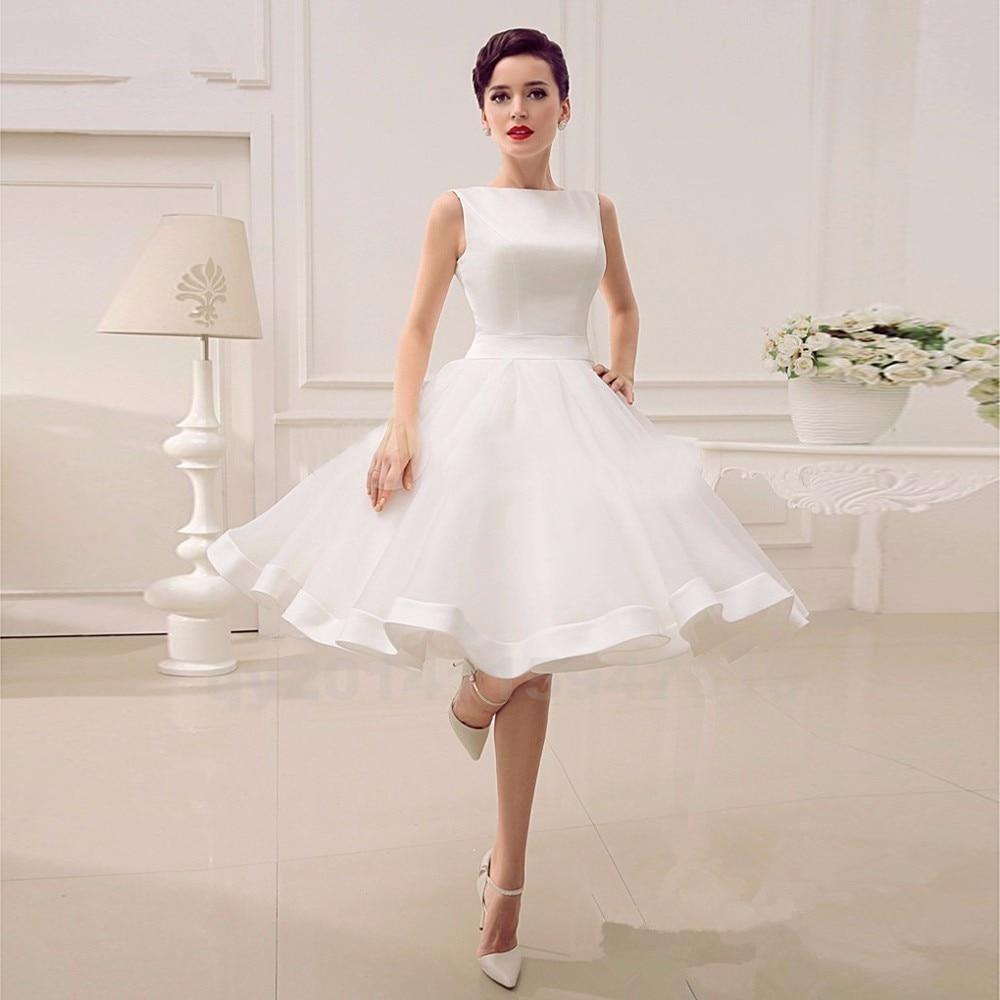 Elgant A Line Knee Length Wedding Dresses 2017 Organza