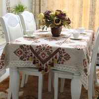 European American Style Elegant Luxury Tablecloth Top Quality Polyester Linen Blended Custom Size Formal Table Cloth