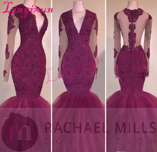 2018 New Sexy Mermaid   Prom     Dresses   V Neck Lace Crystal Beaded Long Sleeves Burgundy Open Sheer Back Party Pageant Evening   Dress