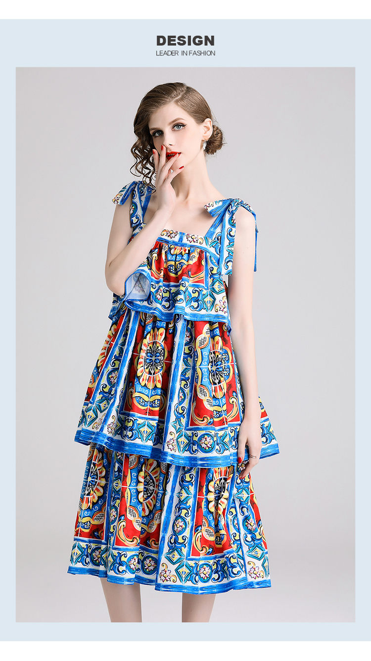 New 2019 Fashion Designer Runway Sicilian Summer Dress Women Bow Spaghetti Strap Tiered Ruffle Backless Flower Print Long Dress Dresses Aliexpress