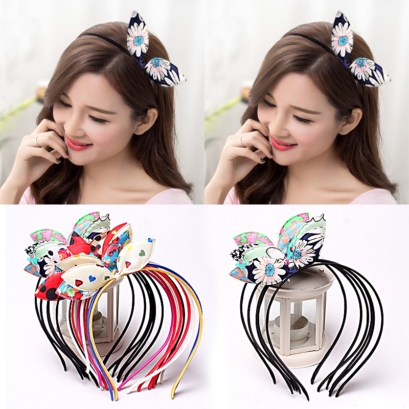 1PC Random Fashion Girls Children Bow Colorful Lovely Rabbit Ears Hairbands Hair Accessories