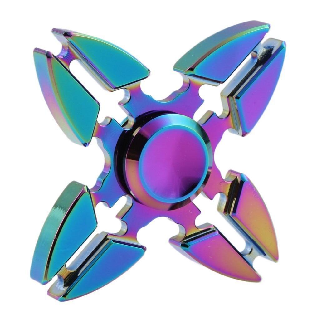 Mehechap Fidget Spinner Rainbow 4 Crab Legs Aluminum Alloy Tri-Spinner Hand Spinner Metal Desk Focus Toy EDC