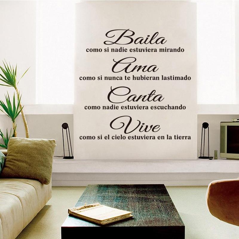 US $6.98 |Spagnolo Maxim Baila Ama Canta Vive in vinile adesivi murali  soggiorno camera da letto adesivi murali decorazione della casa della casa  ...