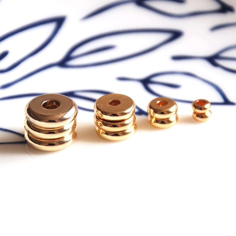 Wholesale 10 Pcs/lot Gold Plated Disc Rondelle Spacer 4mm/6mm/8mm Jewelry Making DIY For Women