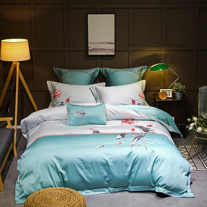 Набор постельного белья с золотой и серой вышивкой, двуспальный комплект постельного белья из египетского хлопка королевского размера, под...