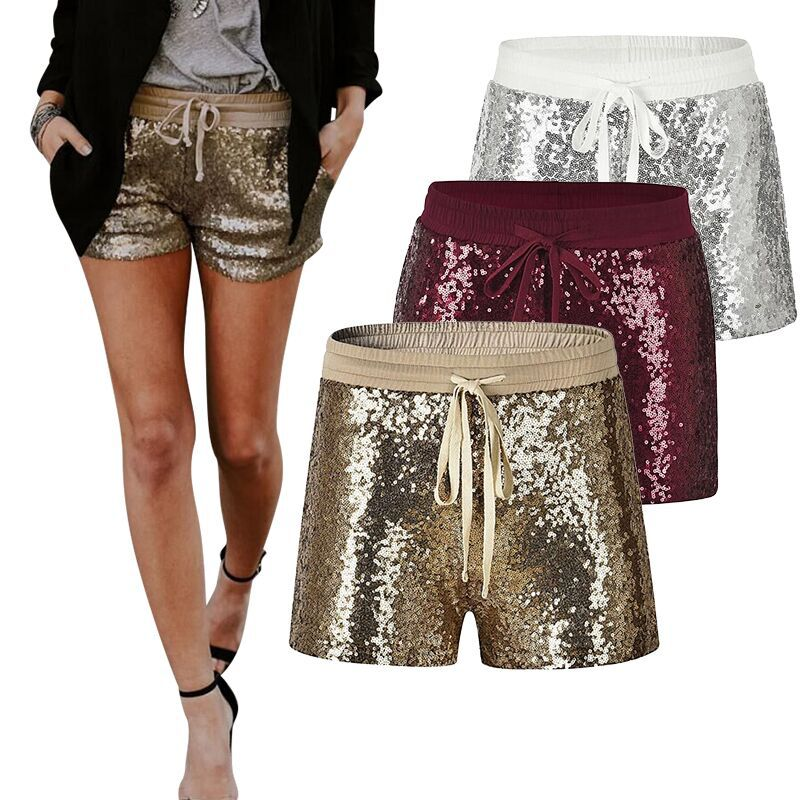 Women Sequins   Shorts   Elastic Red Silver Gold Paillette   Shorts   Sexy Women   Short   Pants Pocket Bling Clubwear Sparke   Shorts   Outfit