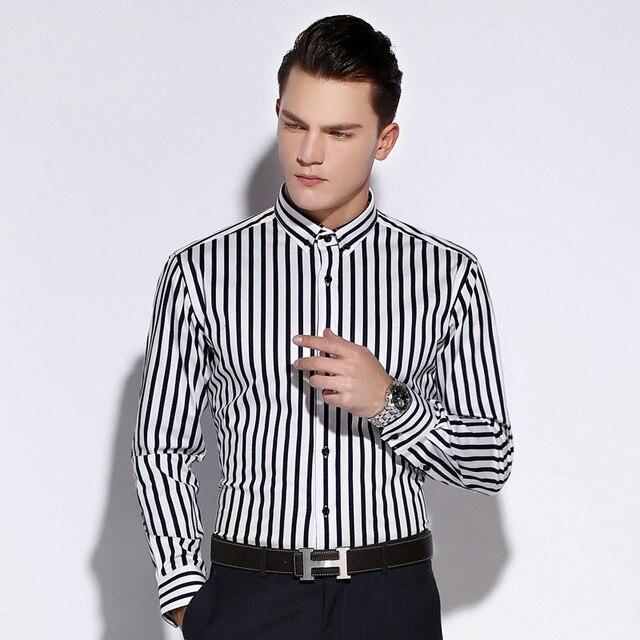 England Style Vertical stripes Mens Dress Shirts 2017 Spring Newest Fashion Turn-down Collar Slim Fit Cotton Man Camisas 4XL