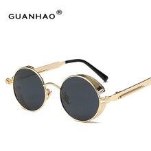 브랜드 디자이너 레트로 빈티지 선글라스 새로운 패션 봄 거울 다리 안경 라운드 금속 안경 uv400 여성 선 글래스