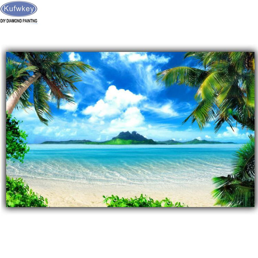 5d diy diamond painting Sea Beach Ocean Scenery cross stitch 3d diamond embroidery kits 3d picture diamond mosaic Home Decor