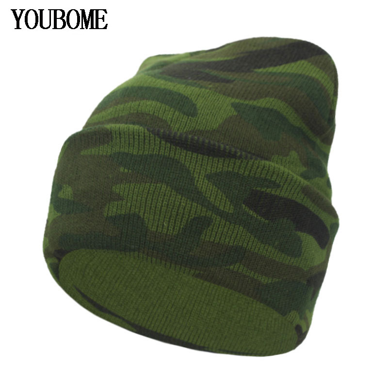 YOUBOME Fashion   Skullies     Beanies   Men Winter Knitted Hats For Men Women camouflage Gorros Bonnet Warm Male Winter   Beanie   Hat Cap