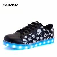 New LED Women Skateboarding Shoes Luminous Light Sneakers Printed Skull Head USB Recharged Lacing Flat Heel