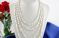 Free shipping@@@@@ LONG 100 11MM WHITE COIN FRESHWATER PEARL NECKLACE p534