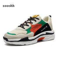 zeeohh 2018 Hot Stitching Contrast Color Dad Shoes Thick Sole Anti skid Breathable Urban Jogging Shoes Men's Sports Sneaker