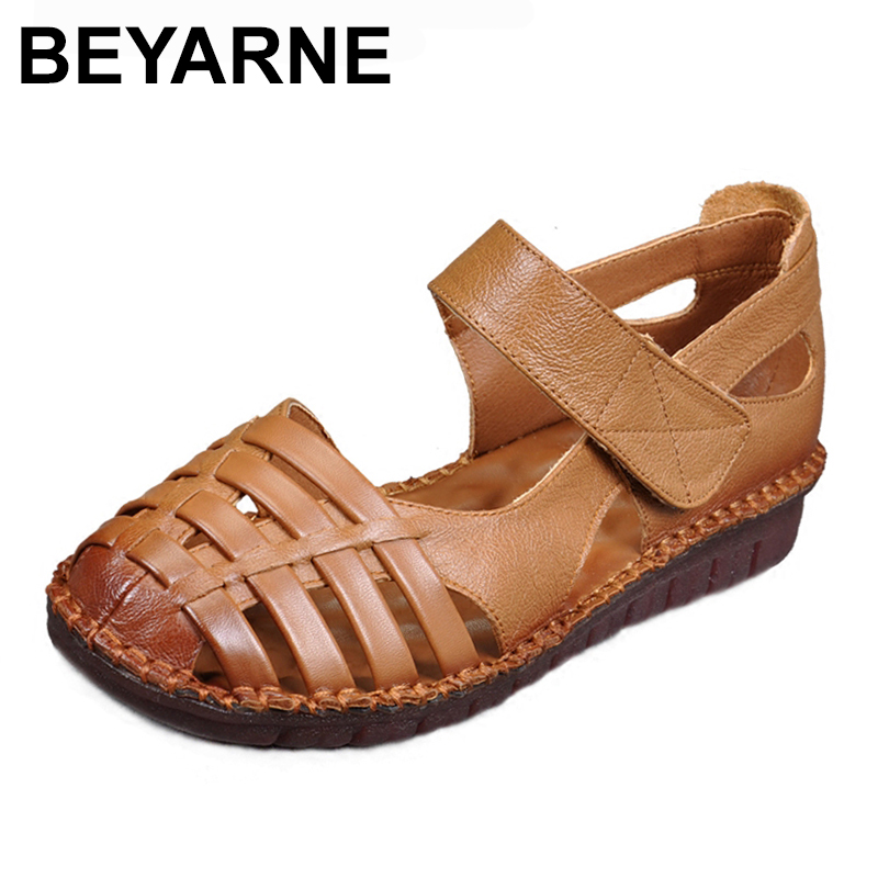 BEYARNE Woman Sandals Women Shoes Breathable Gladiator Flat Sandals Hollow out Hook Loop Chaussure Plus Size tenis feminino