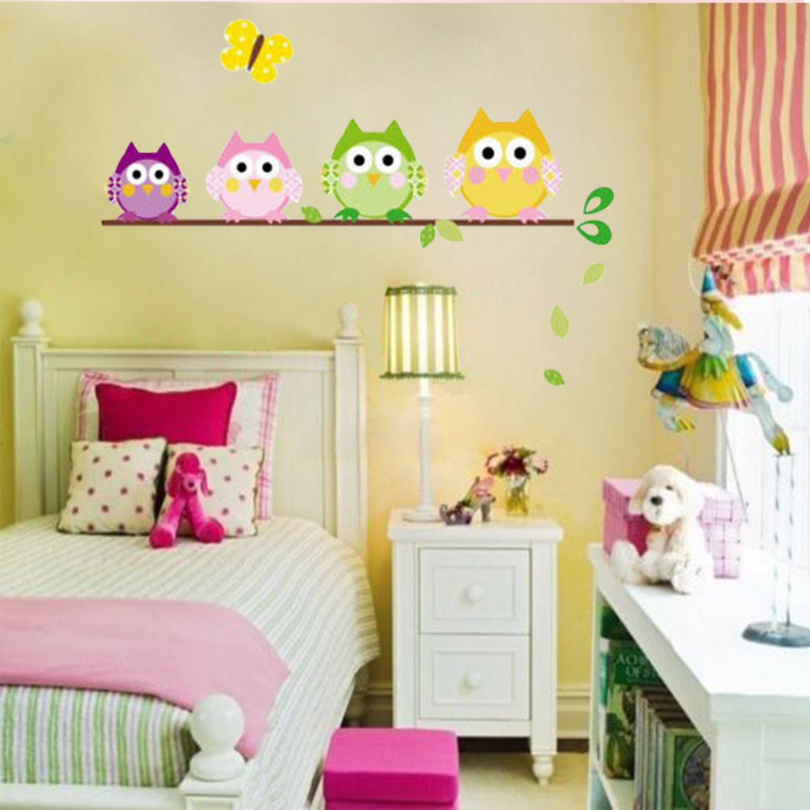 4 Owls Butterfly Kids Nursery Decals Wall Sticker Home Decor Vinyl ...