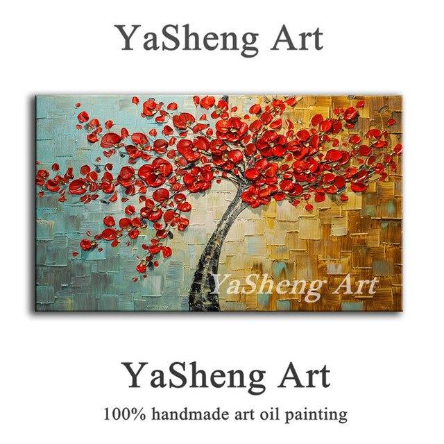 Handgemachte Ölgemälde Spachtel Farbe Dick Rot Baum Blumen Malerei Modernen  Haus Kunst Leinwand Wand Wohnzimmer Decor