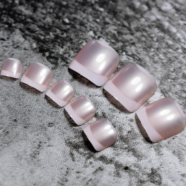24pcs Pearl Pink Classical French Toenails For Foot Acrylic False Fake Artificial Pre Designed Toe Nails