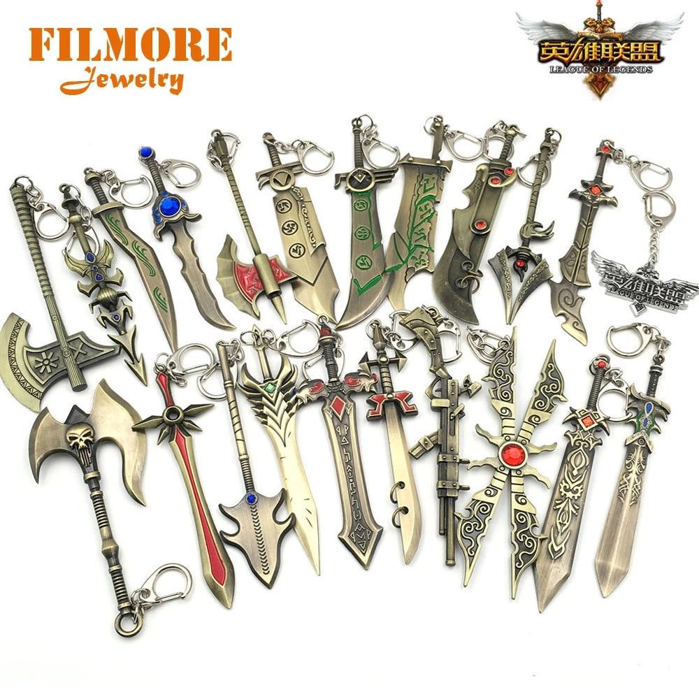 24 Buah Banyak Permainan Panas Perhiasan Lol Senjata Gantungan Kunci Paduan Logam Pedang Gantungan Kunci Gantungan Kunci Untuk Pemain Hadiah Mix Grosir Desain Gantungan Kunci Aliexpress