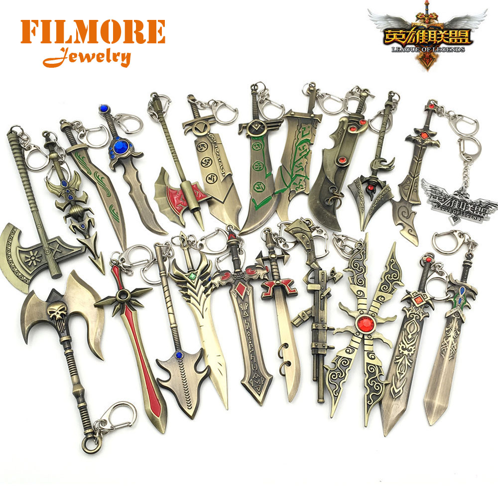 24pcs/lot Hot Game Jewelry Lol Weapon Keychain Metal Alloy Sword Key Rings Key Holder For Player's Gifts Mix Designs Wholesale