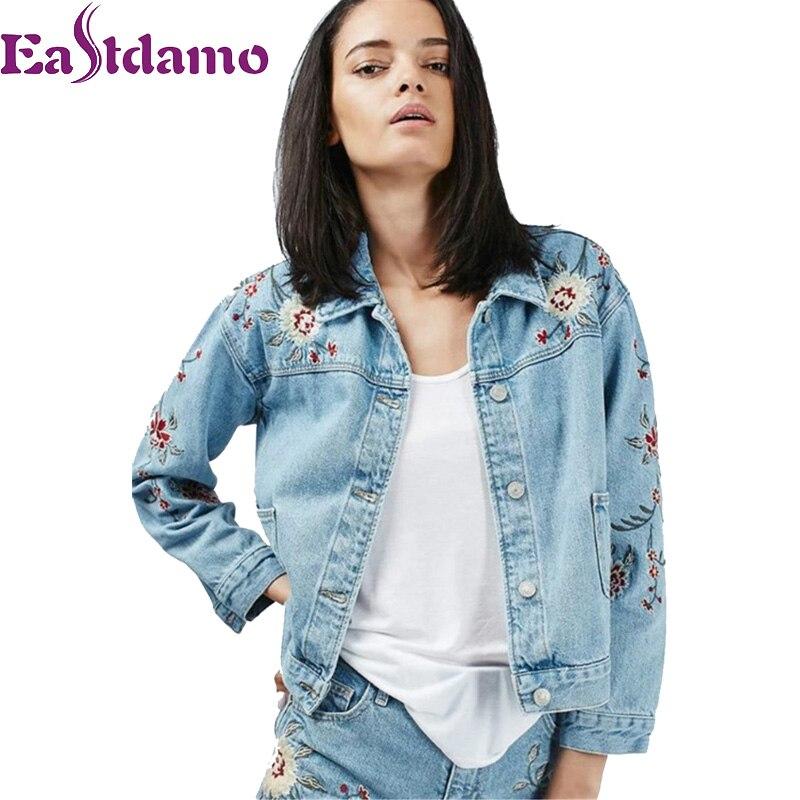 Jeansjacke Frauen Floral Eastdamo Retro Mantel Stickerei hdrtQxsCB