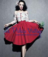 Women's Elegant Cotton Floral Contrast Slash Neck Red Fluffy Dress Fashion Temperament Retro Hepburn Style Dress