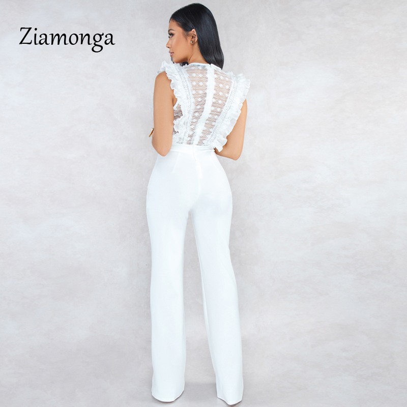 HTB1 TpTbaL7gK0jSZFBq6xZZpXai - Ziamonga Women Sexy Jumpsuits Patchwork Lace Mesh Ruffles See Through Transparent Slim Bodysuits Overalls Long Pants Outfits