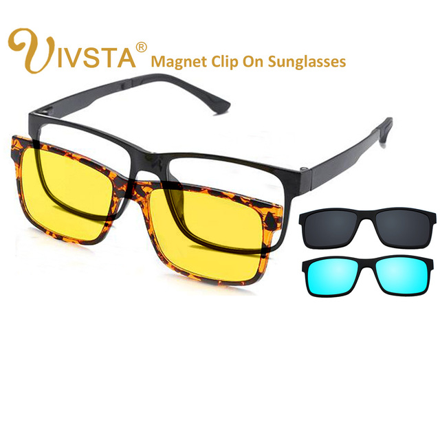 6b05800250 IVSTA Include Frame Polarized Clip On Sunglasses Men TR90 Custom  prescription lenses Magnetic clips night glasses drive Magnet
