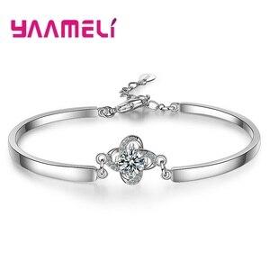 Элегантный браслет из стерлингового серебра 925 пробы, роскошный бренд, цветочный дизайн, ааааа, кристалл, кулон, капля воды, очаровательный б...
