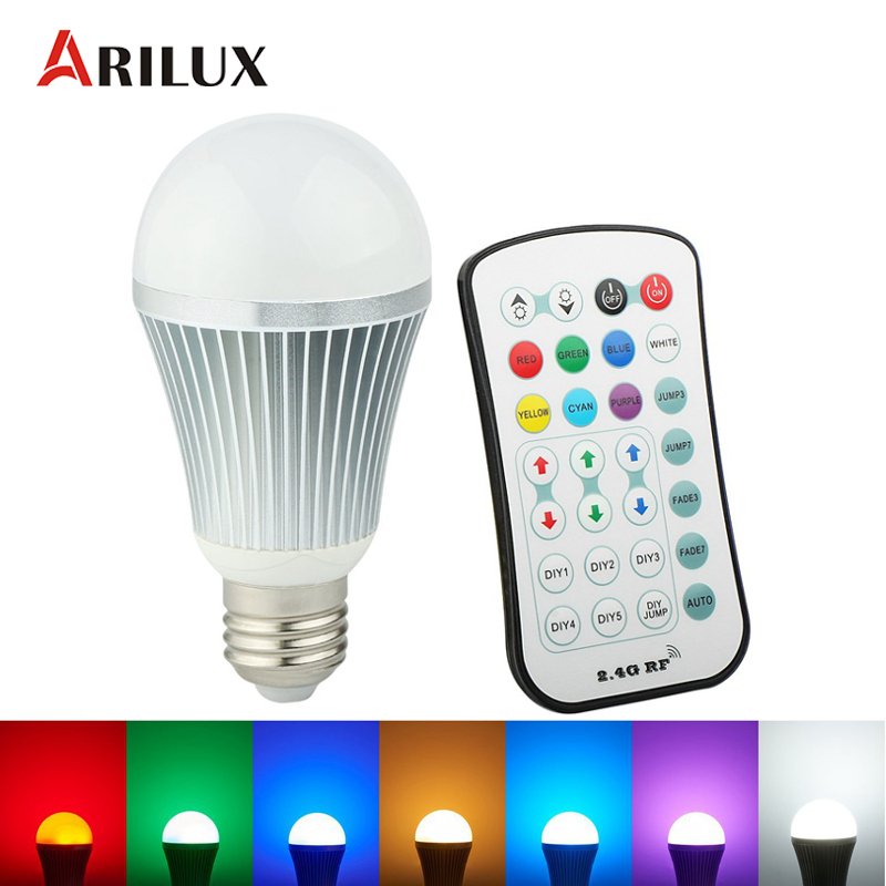 ARILUX E27 LED Bulb Light 9W RGB Globe LED Light Bulb 5730/5050 SMD With 2.4G Wireless Remote Controller  AC85-265V rgb 10w led bulb e27 e14 ac85 265v led lamp with remote control led lighting multiple colour