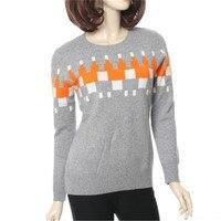 100% козья кашемировая вязаная женская мода в Корейском стиле Лоскутная цвета свитер orange 2 вида цветов S 2XL