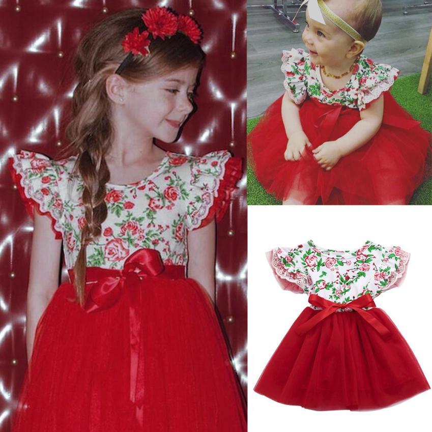 TELOTUNY 2018 Flower Girls Dress Summer Baby Girls Infant Toddle Floral Lace Tutu Sleeveless Clothes Princess Dress m19