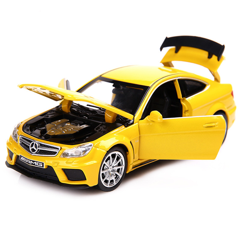 1:32 C63 Super Car Simulation Toy Car Model Alloy Pull Back Children Toys Genuine License Collection Gift Off-Road Vehicle Kids
