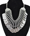 Fashion Gypsy Bohemian Boho Jewelry Antique Silver Tassels Carving Coins Collar Statement Necklace For Women Gift Jewelry