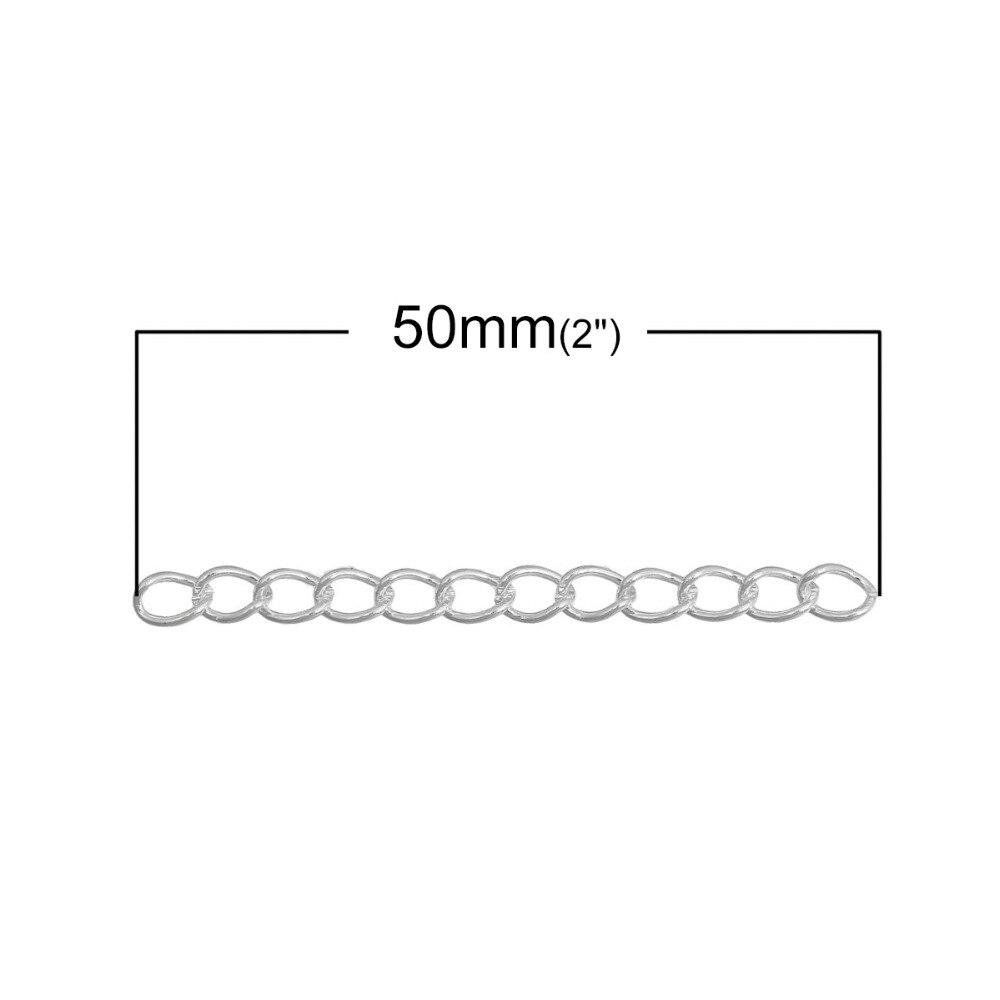 Дорин коробка Прекрасный 100 шт. серебряный цвет Расширенный & расширения Цепи ювелирных изделий/Хвост Extender для DIY ювелирное 50×3 мм (B04437)
