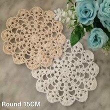 15CM Round Vintage Handmade Crochet Doilies Cotton Lace Wedding Party Christmas Table Placemat Coffee Mug Coaster Decor Pad Mat