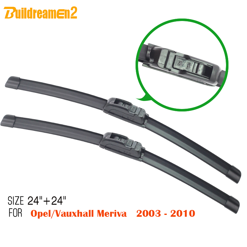 Buildreamen2 Car Soft Rubber Windshield Wiper Blades Frameless Auto Windscreen Wiper Blade 2Pcs Fit For Opel Meriva 2003-2010(China)