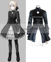 Fate Saty Night Saber Black Dress Cosplay Costume E001