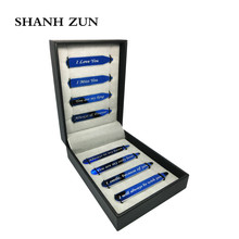 SHANH ZUN Fashion 8 Pcs Love Notes Stainless Steel Blue Collar Stays in Gift Box Valentines Day Holiday Present