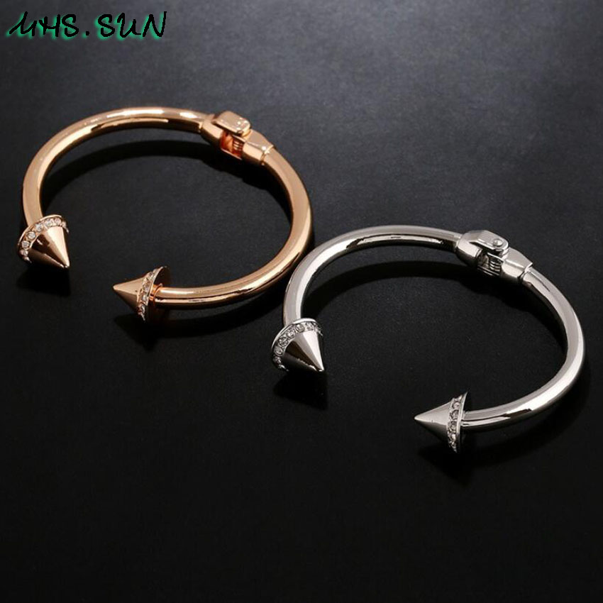4-41Pcslot Fashion Women Open Bangle Rose GoldSilver Color Personality Crystal Bangle Exaggerated Jewelry For Female